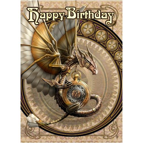 Clockwork Dragon Birthday Card