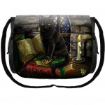 Cat and Books Messenger Bag