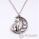 Howling Wolf with Moon Pendant PN733