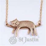 Bronze Sleeping Cat Necklace BZP89