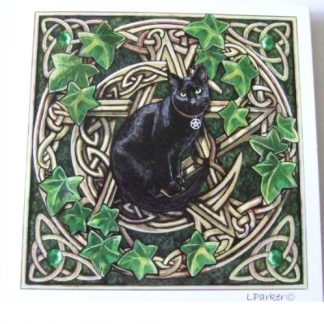Cat and Pentagram Card shows a cat in front of a pentagram and crescent moon with triquetras in the corners