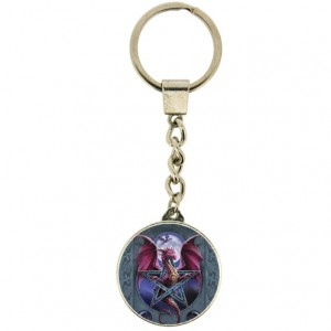 Lunar Magic Keyring shows a dragon through a pentagram with a full moon in the background