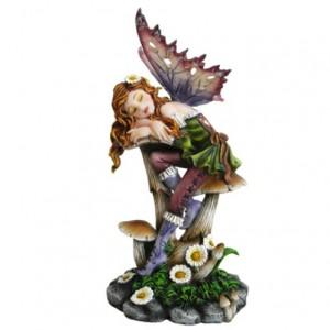 Mable Fairy Figurine shows a fairy asleep on a mushroom