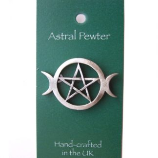 Triple Moon Pentagram Brooch