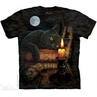 Witching Hour T Shirt shows a magical black cat who is mesmerised by a flickering candle