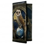 Spell Keeper Purse shows an owl perched upon a crystal ball, holding a pentacle in its talons