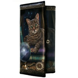 Fortune Teller Purse shows a cat and a crystal ball