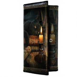 Witching Hour Purse shows a black cat mesmerised by a flickering candle with spell books and scrolls