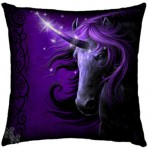 Black Unicorn Cushion by Linda M Jones