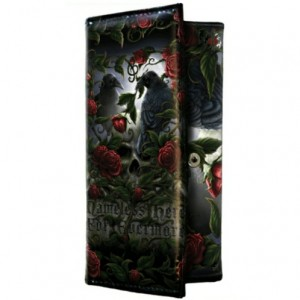 Sorrow for the Lost Purse shows 2 ravens sitting on a skull surrounded by thorny red roses