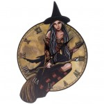 PCKP57 Witch on Broomstick Shaped Clock