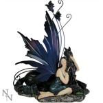 Adoration Figurine shows a fairy with a black unicorn