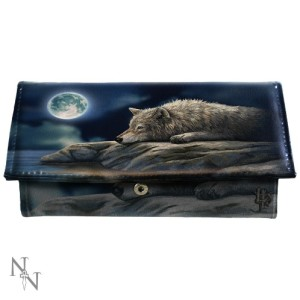 Quiet Reflection Purse shows a wolf resting by the waterside in the light of the full moon