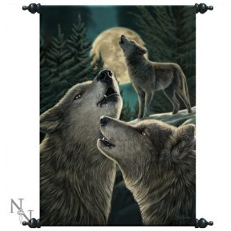 Wolf Song Large Scroll shows 3 wolves and a full moon