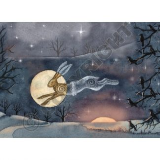Luna Moon Hare at Winter Solstice Card