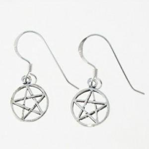 Small Pentacle Silver Earrings