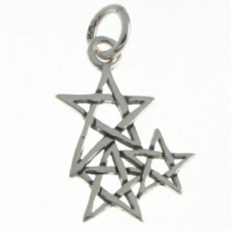 Cluster of Pentagrams Silver Pendant
