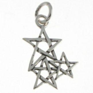 Cluster of Pentagrams Silver Pendant