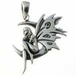 Fairy on Moon Silver Pendant