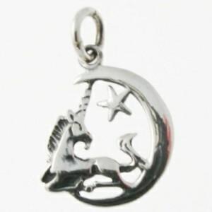 Unicorn on Moon Silver Pendant