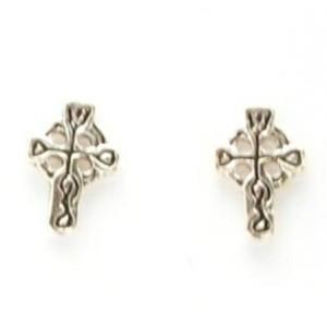 Celtic Cross Small Silver Studs