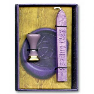 Triquetra Wax Seal with a metal seal with a triquetra design and purple wax