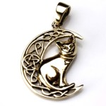 Bronze Cat on Moon Pendant