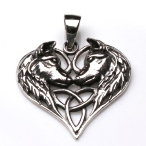 Silver Wolf Heart Pendant