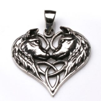 Silver Wolf Heart Pendant