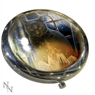 Bewitched Compact Mirror shows a magical black cat surrounded by spell books