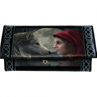 Moonstruck Purse shows a girl and a wolf, both are in profile facing each other in front of a full moon.