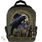 This rucksack sows a raven with a pentacle in its beak with a full moon in the background