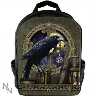 The Talisman rucksack shows a raven with a pentacle in its beak with a full moon in the background