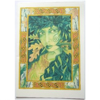 Lady of the Wood Card shows a Green Lady with foliage entwined with a celtic border