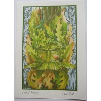 Lord of the Trees Card shows a Green Man camouflaged by oak and ivy leaves