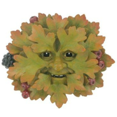 Hawthorn Green Man Plaque has a lovely face which emerges from the leaves there are red berries and a blackberry peeping out from under the leaves