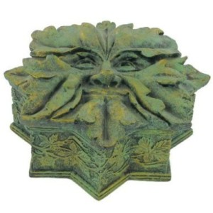 Green Man Star Box has leaves around his face which form the shape of a star