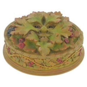 Hawthorn Green Man Box features a green man with red berries and blackberry. Around the base are leaves and berries