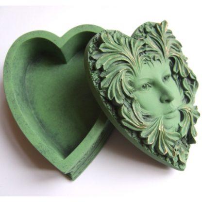 Primavera Green Lady Heart Shaped Box lid and base
