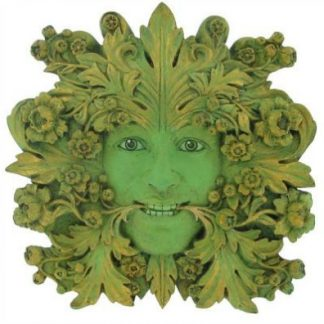 Green Mistress Green Woman Plaque shows leaves swirling around her face and are coming from her mouth