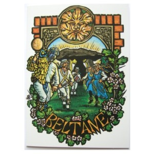 Beltane Card shows Morris Dancers in front on Standing Stones