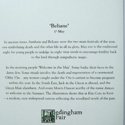 Beltane Card shows information about Beltane which is on the back of the card