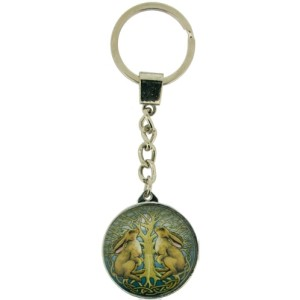 Mystic Hares Keyring shows a hare on either side of a tree of life