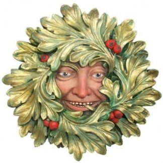 Green Avalon Green Man Plaque has fantastic gold and green leaves and red berries