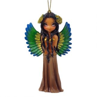 Aztec Princess Fairy Figurine shows a regal fairy who has fantastic feathered wings