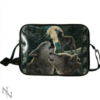 Wolf Song Side Bag shows 3 wolves in a forest set against a full moon
