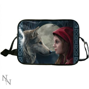 Moonstruck Side Bag shows a girl and a wolf looking at each other against a full moon
