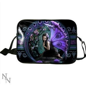 Naiad Side Bag shows a purple winged fairy kneeling beside a pool