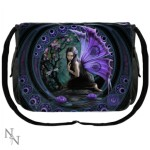 Naiad Messenger Bag shows a purple winged fairy kneeling beside a pool