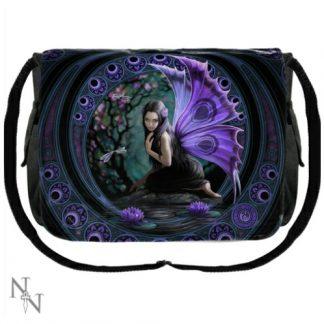 Naiad Messenger Bag shows a purple winged fairy kneeling beside a pool